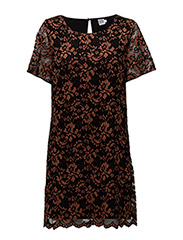 LACE DRESS W SHORT SLEEVES - COPPER