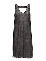 PLEATED SHIMMER DRESS - O.GREY