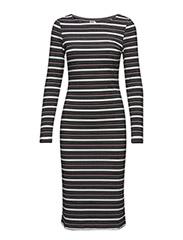MIX STRIPED RIB DRESS - BLACK