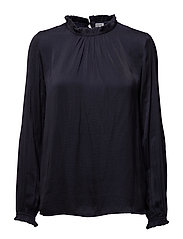 BLOUSE W HIGHNECK - DEEP BLUE