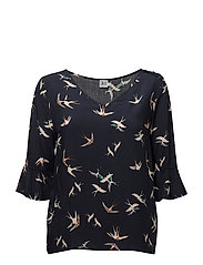 BIRD PRINT TOP W RUFFLE SL. - D.NAVY