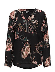 FLOWER P BLOUSE W BAND - BLACK