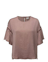BLOUSE WITH RUFFLE SLEEVE - ANTLER