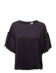 BLOUSE WITH RUFFLE SLEEVE - BL DEEP