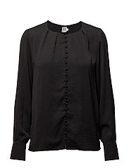 BLOUSE WITH BUTTON DETAIL - BLACK