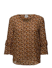 WILD FLOWER PRINT BLOUSE - CURRY