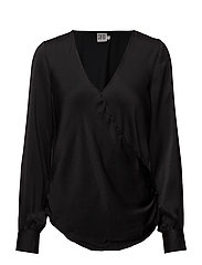 WRAP DETAIL BLOUSE WITH BUTTON - BLACK
