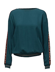 BLOUSE WITH LEOPARD STRIPE - S.GREEN