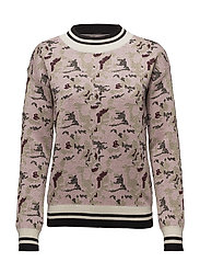 CAMOUFLAGE ART SWEATER - B.LILAC