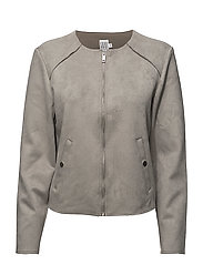 FAUX SUEDE JACKET - P.GREY