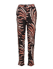FEATHER PRINTED PANTS - BLACK