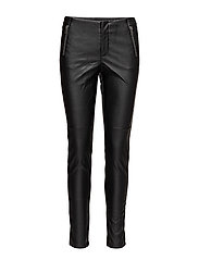 FAUX LEATHER PANTS - BLACK