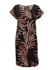 FEATHER PRINTED WOVEN DRESS - BLACK