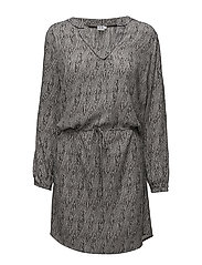 BRAIDED LINES WOVEN DRESS - ICE