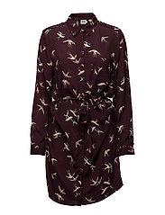 BIRD SHIRT DRESS W- PIPING - WINE