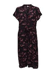 FLORAL PRINTED SHIRT DRESS - BL DEEP