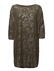 FOIL PRINTED DRESS - ARMYGREEN