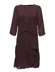 DRESS WITH DRAPED HEM - FUDGE