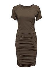 JERSEY DRESS W.RUCHING - DK.OLIVE