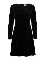 CHECK VELVET DRESS - BLACK