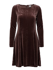 CHECK VELVET DRESS - FUDGE