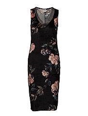 FLOWER P. DRESS W. DRAPED HEM - BLACK
