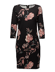 FLOWER P JERSEY DRESS - BLACK