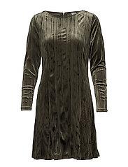 PLISSE VELVET DRESS - ARMYGREEN