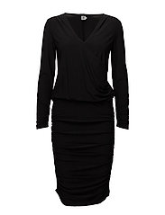 DRAPED JERSEY DRESS - BLACK