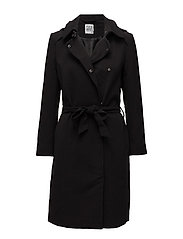 HODDED TRENCH COAT - BLACK