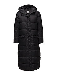 LONG PADDED JACKET WITH HOOD - BLACK