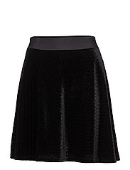 CHECK VELVET SKATER SKIRT - BLACK