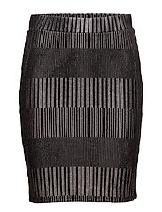 FOIL PRINTED RIB SKIRT - BLACK