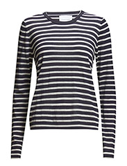 Sanella o-neck stripe 3111 - CREAMBLUE