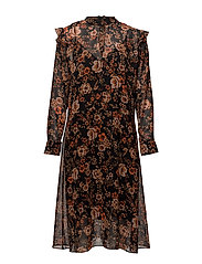 Cavan ls dress aop 9696 - BLACK BLOOM
