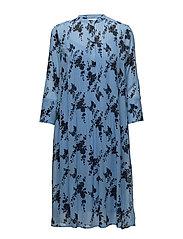 Elm shirt dress aop 9695 - BLUE BLOOM