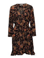 Limon ls dress aop 6515 - BLACK BLOOM