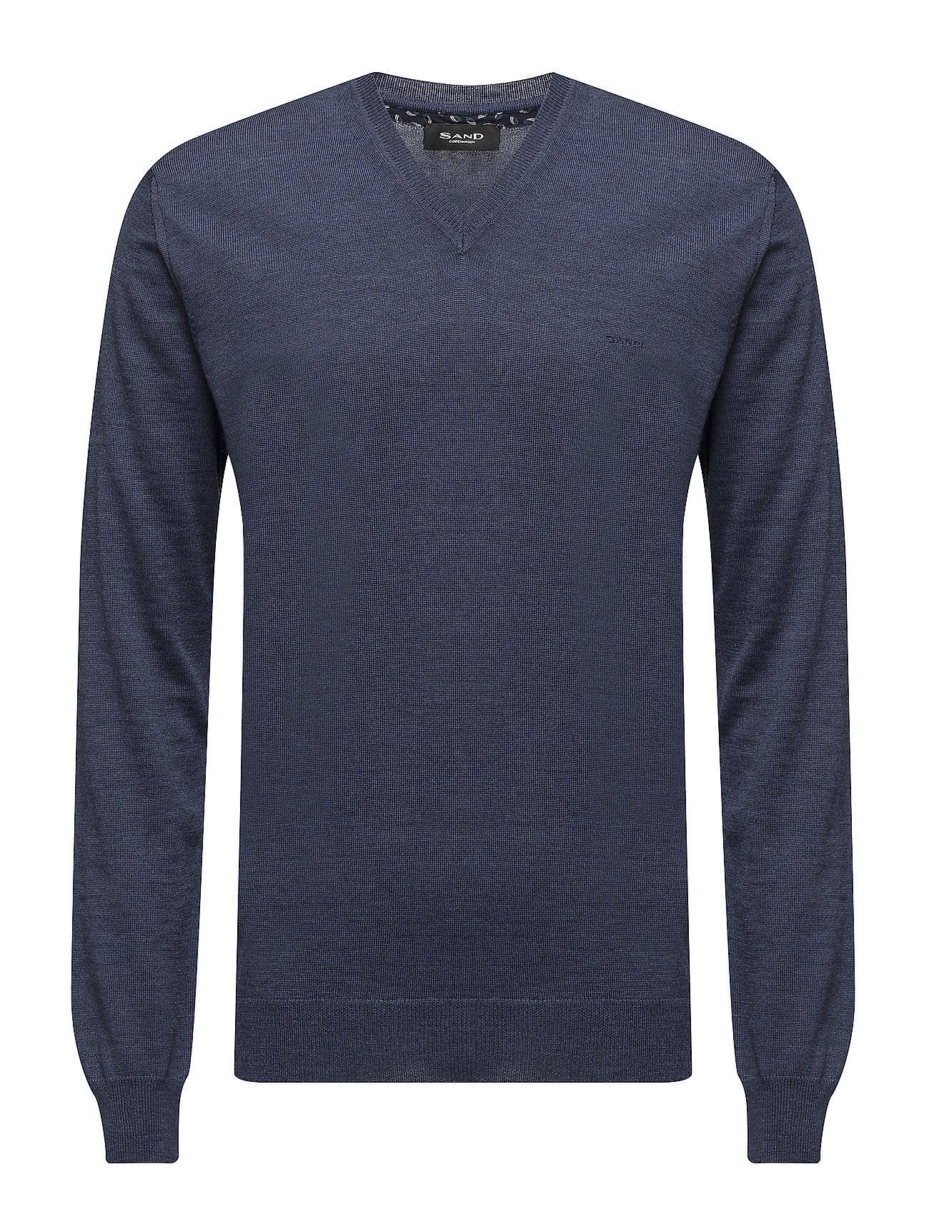 Merino Embroidery - Iv SAND V-halsede til Herrer i Medium Blå