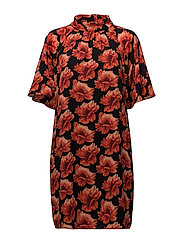 Rose Crepe - Prosa Sleeve Dress - MEDIUM RED