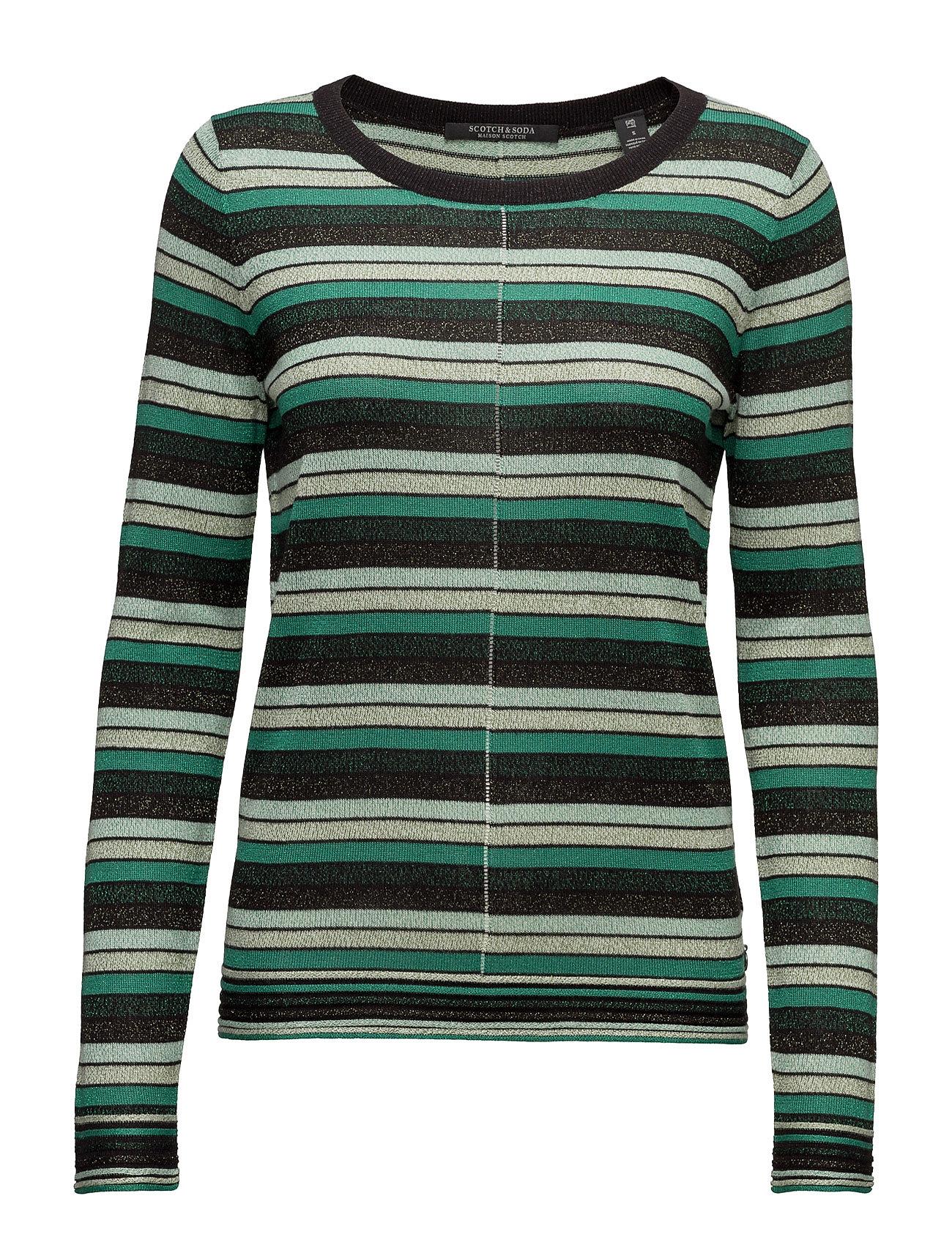 Fine gg pullover lurex knit in stripes or solid fra scotch & soda fra boozt.com dk