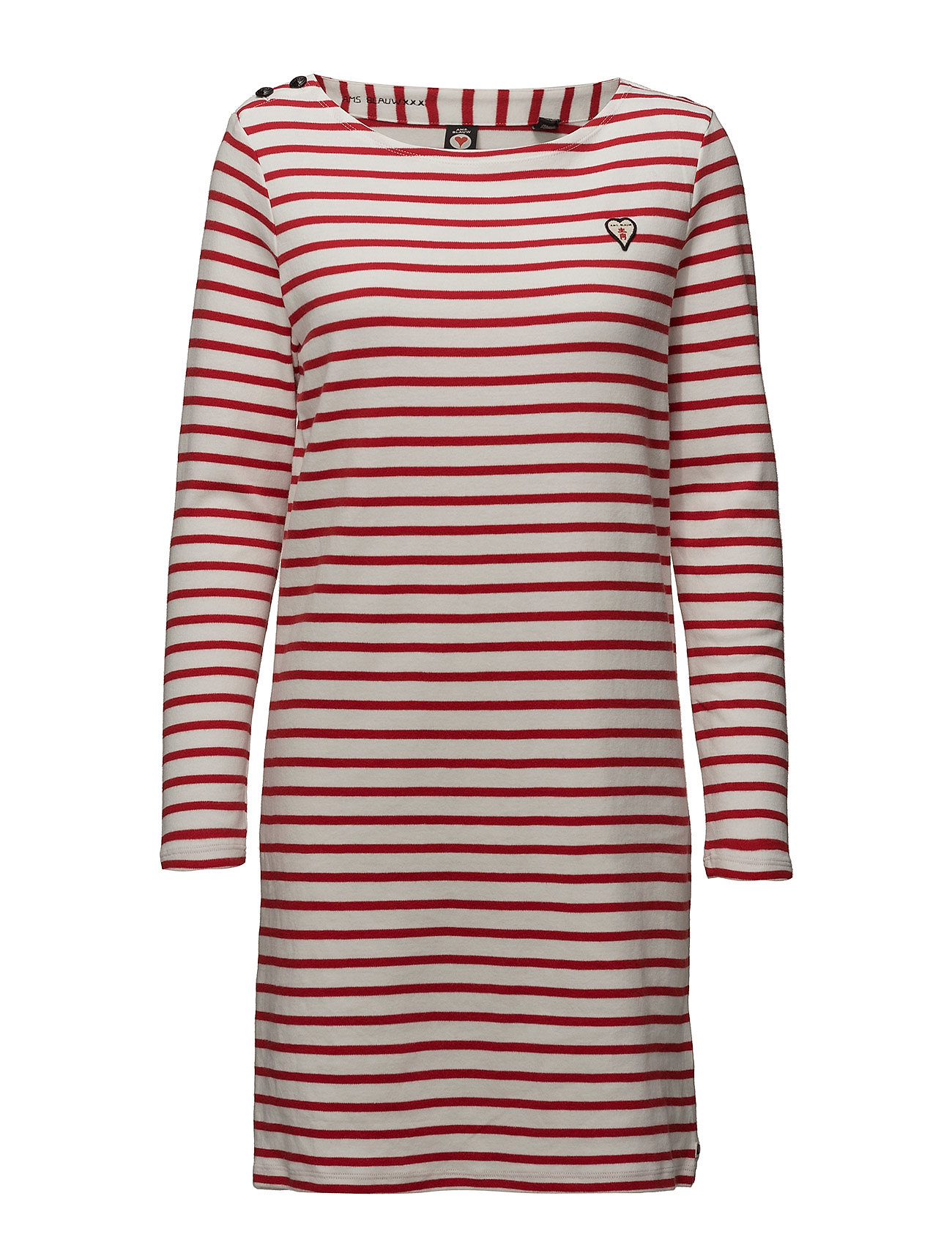 Classic Breton Dress With Shoulder Closure