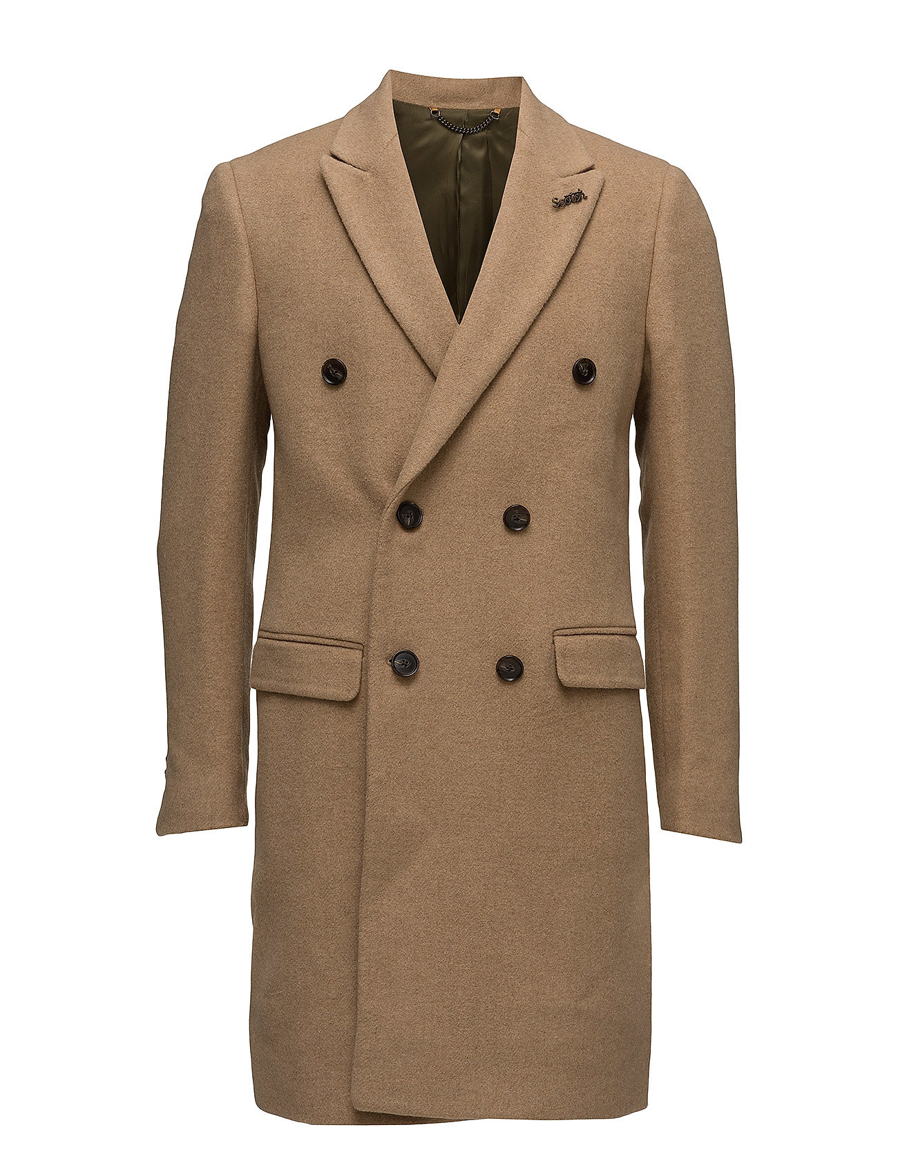 Scotch & Soda Long double breasted coat in wool quality with contrast inte