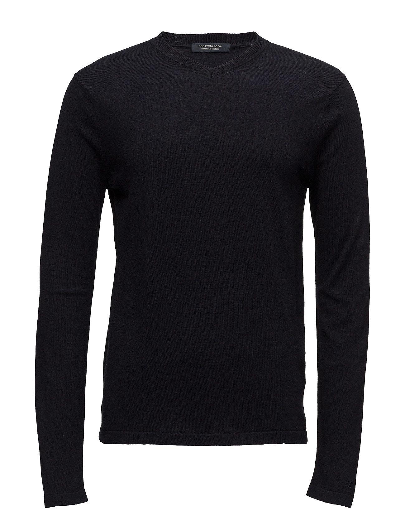 V-Neck Pullover In Soft Cotton Quality Scotch & Soda V-halsede til Herrer i Navy blå