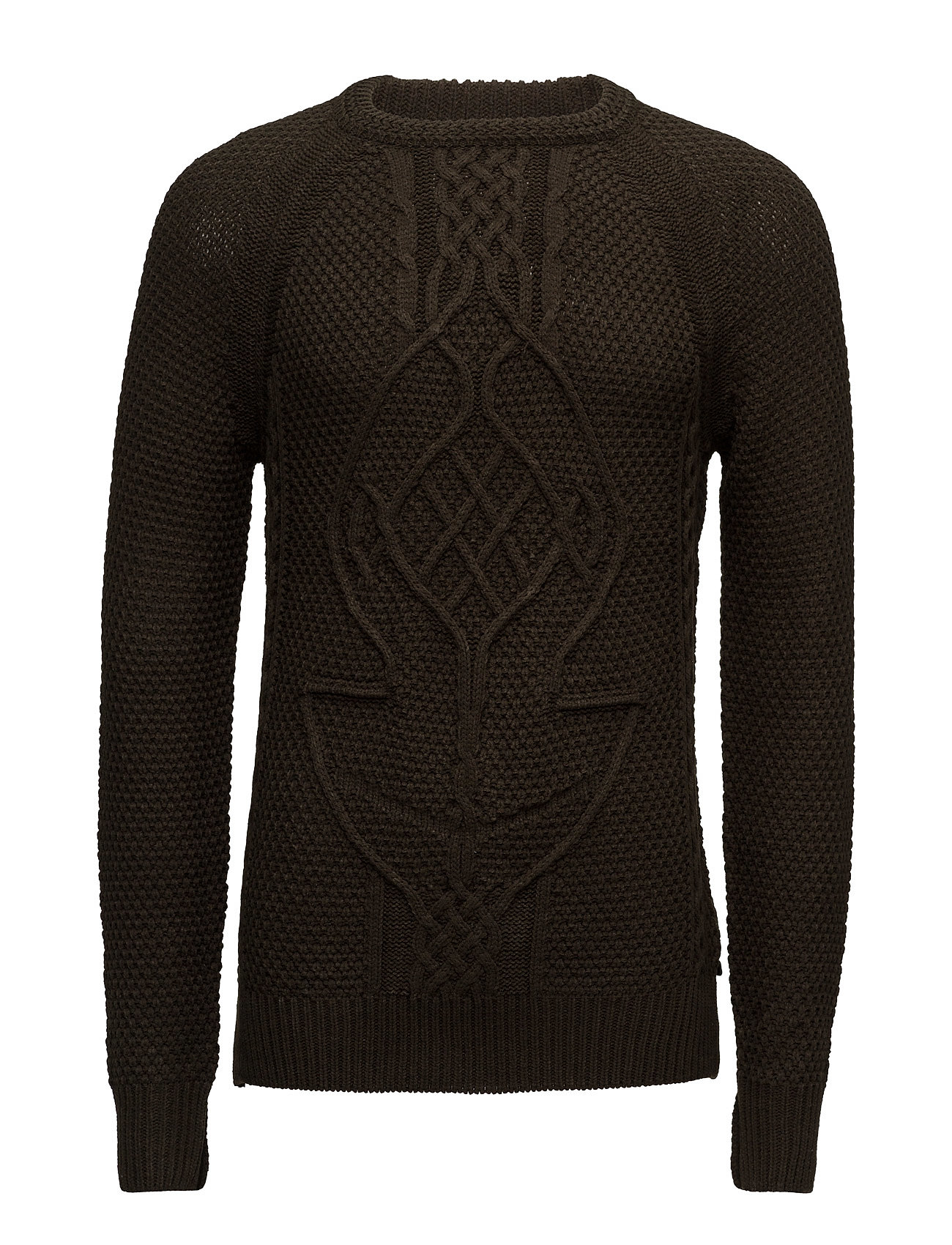 Cable Knit Crewneck Pullover In Monsanto Quality Scotch & Soda Rundhalsede til Herrer i