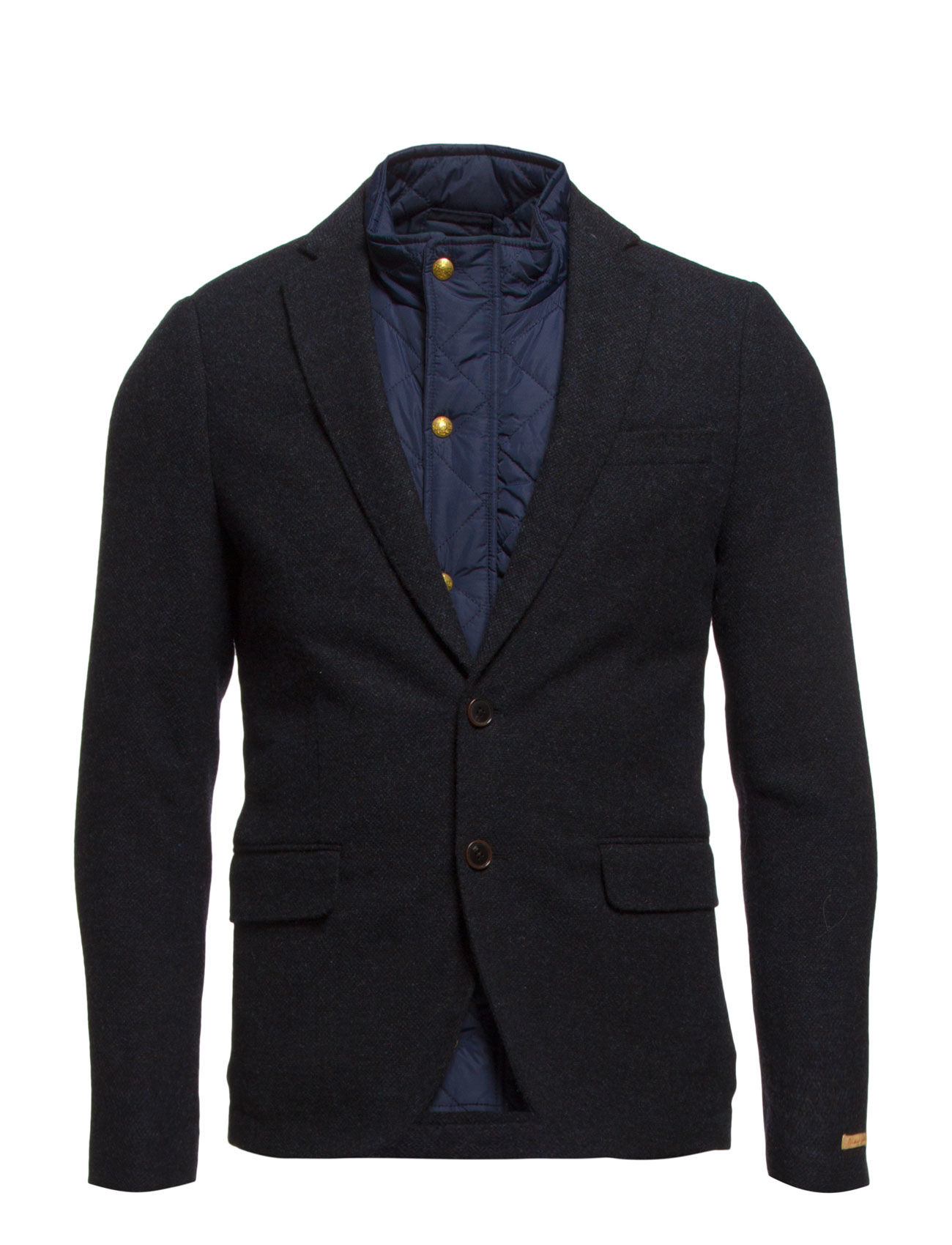 Half Lined Wool Blend Blazer With Inner Bodywarmer