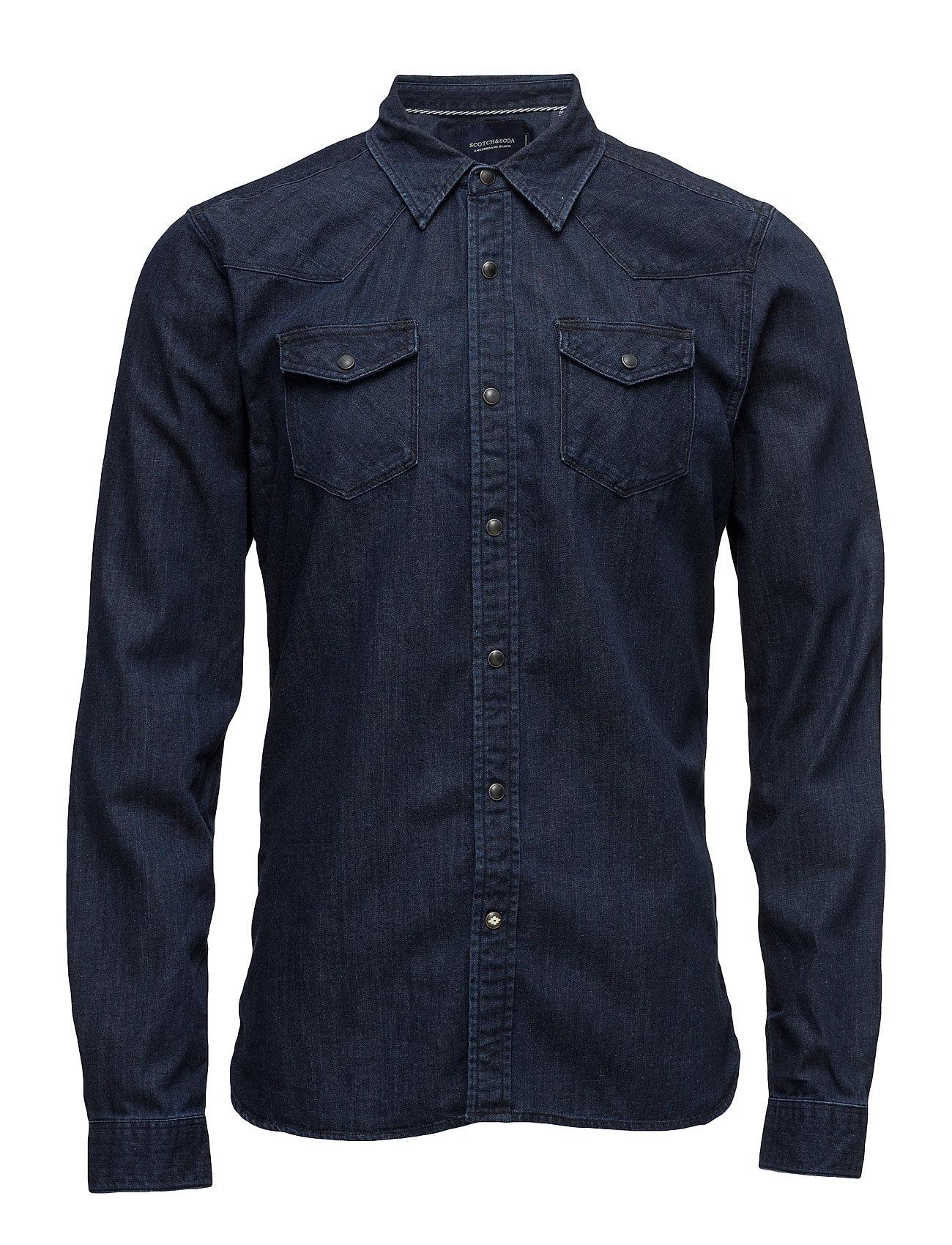 Ams blauw classic western shirt in regular fit fra scotch & soda på boozt.com dk