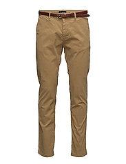 Slim fit cotton/elastan garment dyed chino pant - WALNUT