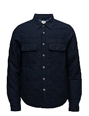 Home Alone quilted indigo shirt jacket - DENIM BLUE