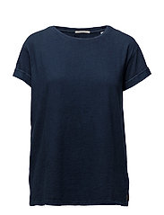 Home alone loose tee with shiny neck-rib - INDIGO