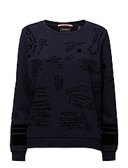 Relaxed fit open neck sweat with allover flock pattern - NIGHT